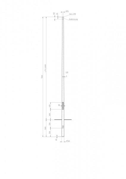 Conische stalen lichtmast met top D=76 L=6 meter