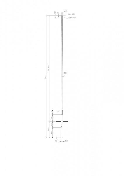 Conische stalen lichtmast met top D=76 L=9 meter