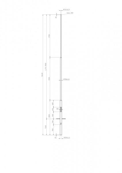Stalen lichtmast met verjonging top D=76 L=9 meter