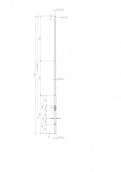 Stalen lichtmast met verjonging top D=76 L=8 meter