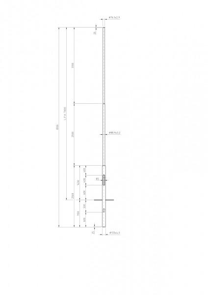Stalen lichtmast met verjonging top D=76 L=7 meter
