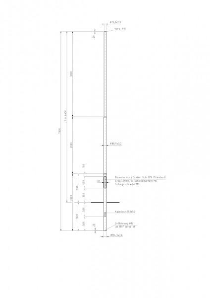 Stalen lichtmast met verjonging top D=76 L=6 meter