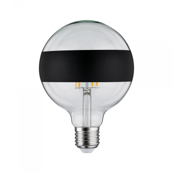 LED Globe 125 Ringspiegel Zwart mat 6,5W E27 Warmwit dimbaar