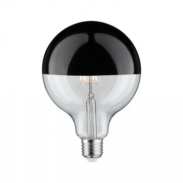 LED Globe 125 Kopspiegel zwart glans 6,5W E27 Warmwit dimbaar