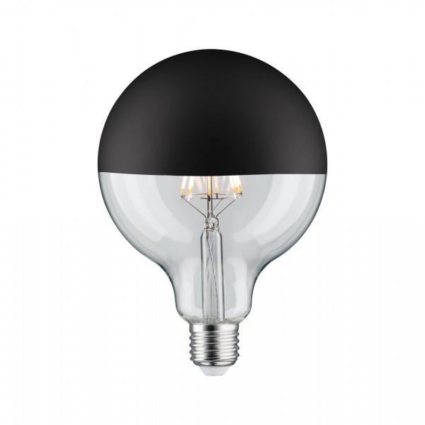 LED Globe 125 Kopspiegel zwart mat 5W E27 Warmwit dimbaar